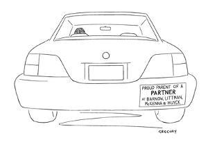 Bumper sticker on car boasts offspring's legal  or financial success. It r? - New Yorker Cartoon by Alex Gregory