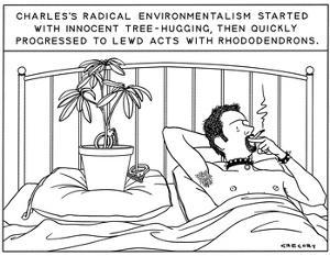 """""""Charles's Radical Environmentalism Started with Innocent Tree-Hugging, th…"""" - New Yorker Cartoon by Alex Gregory"""
