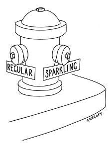 Fire hydrant with regular or sparkling water - New Yorker Cartoon by Alex Gregory