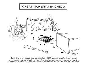 """""""Great Moments in Chess""""-Backed into a Corner by His Computer Opponent, Gr? - New Yorker Cartoon by Alex Gregory"""