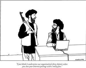 """I just think it undermines our organization's fiery rhetoric when you clo…"" - New Yorker Cartoon by Alex Gregory"