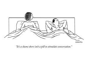 """""""It's a shame there isn't a pill to stimulate conversation."""" - New Yorker Cartoon by Alex Gregory"""