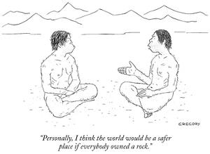 """""""Personally, I think the world would be a safer place if everybody owned a…"""" - New Yorker Cartoon by Alex Gregory"""
