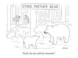 """Stage Mother Bear-""""Go for the one with the camcorder."""" - New Yorker Cartoon by Alex Gregory"""