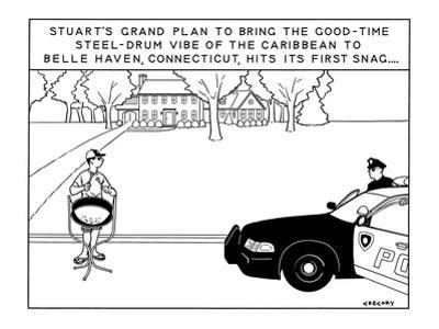 """""""Stuart's Grand Plan to Bring the Good-Time Steel-Drum Vibe of the Caribbe?"""" - New Yorker Cartoon by Alex Gregory"""