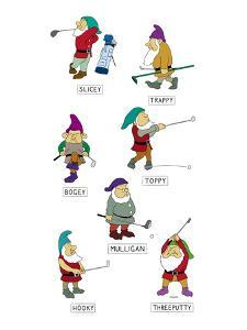 The seven dwarves depicted as golfers with the names, 'Slicey,' 'Hooky,' '? - New Yorker Cartoon by Alex Gregory