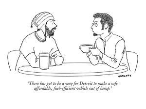 """""""There has got to be a way for Detroit to make a safe, affordable, fuel-ef?"""" - New Yorker Cartoon by Alex Gregory"""