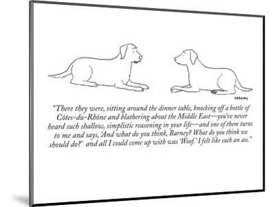 """""""There they were, sitting around the dinner table, knocking off a bottle o…"""" - New Yorker Cartoon by Alex Gregory"""