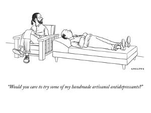 """""""Would you care to try some of my handmade artisanal antidepressants?"""" - New Yorker Cartoon by Alex Gregory"""