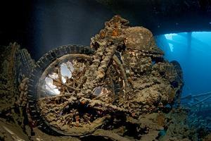 World War II Bsa M20 Motorbike in the Hold of Thistlegorm Wreck. Sha'Ab Ali, Sinai, Egypt. Red Sea by Alex Mustard