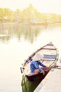 A boat driver in a conical hat in Hoi An, Vietnam, Indochina, Southeast Asia, Asia by Alex Robinson