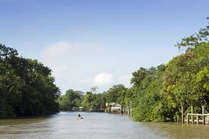 A Boat on an Igarape (Flooded Creek) in the Brazilian Amazon Near Belem, Para, Brazil by Alex Robinson