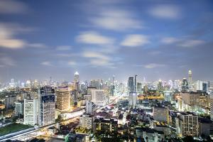 City Skyline at Night, Bangkok, Thailand, Southeast Asia, Asia by Alex Robinson
