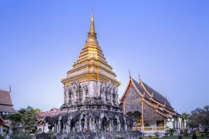 Elephant Sculptures on the Chedi Chang Lom and the Main Bot at the Temple of Wat Chiang Man by Alex Robinson