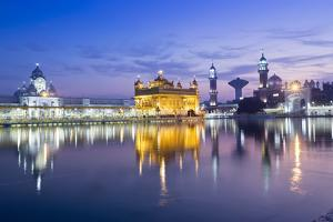 India, Punjab, Amritsar, the Golden Temple - the Holiest Shrine of Sikhism Just before Dawn by Alex Robinson