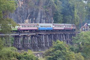River Kwai Train Crossing the Wampoo Viaduct on the Death Railway Above the River Kwai Valley by Alex Robinson