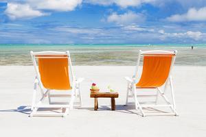 South America, Brazil, Alagoas, Praia Do Riacho, Sun Loungers and Cocktails on the Beach Pr by Alex Robinson