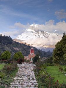 South America, Peru, Ancash, Yungay, Huascaran. View of the Yungay Church in Yungay Viejo by Alex Robinson