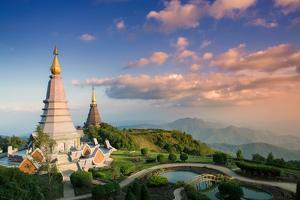 Temples at Doi Inthanon, the Highest Peak in Thailand, Chiang Mai Province by Alex Robinson