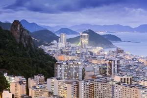Twilight, Illuminated View of Copacabana, the Morro De Sao Joao and the Atlantic Coast of Rio by Alex Robinson