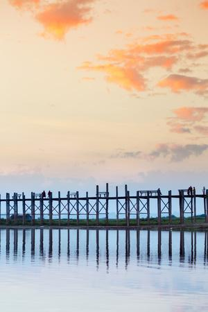 U Bein Teak Bridge and the Taungthaman Lake Near Amarapura, Mandalay, Myanmar (Burma)