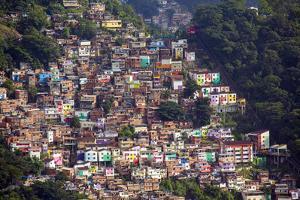 View of the Santa Marta Favela (Slum Community) Showing the Funicular Railway, Brazil by Alex Robinson