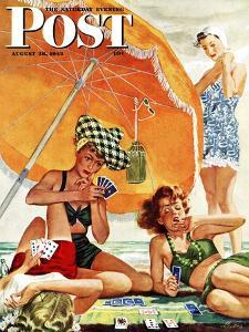 """Card Game at the Beach,"" Saturday Evening Post Cover, August 28, 1943 by Alex Ross"