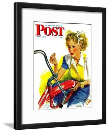 """Flat Bike Tire,"" Saturday Evening Post Cover, July 24, 1943"