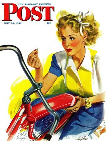 """Flat Bike Tire,"" Saturday Evening Post Cover, July 24, 1943"