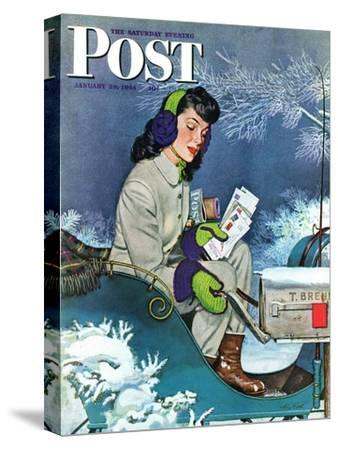 """Mail Delivery by Sleigh,"" Saturday Evening Post Cover, January 29, 1944"
