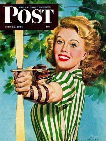 """""""Woman Archer,"""" Saturday Evening Post Cover, July 22, 1944"""