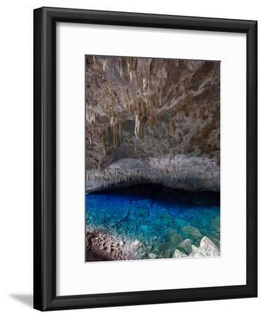 A Blue Underground Lake in Grotto Azul Cave System, Bonito, Brazil