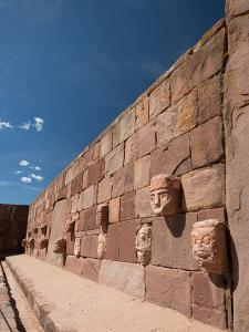 Carved Stone Tenon-Heads in a Wall of a Semi-Subterranean Temple in Tiwanaku by Alex Saberi