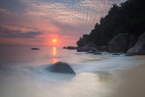 Long Exposure of a Colorful Sunrise Above Praia Do Cedrinho Beach by Alex Saberi