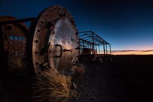 Rusty Train Relics in the Train Graveyard in Uyuni at Sunset by Alex Saberi