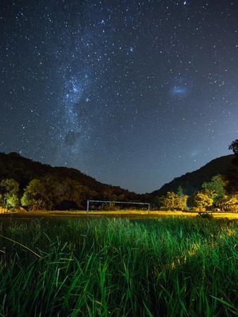The Milky Way Above a Football Goal Post at Night in Ubatuba