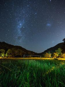 The Milky Way Above a Football Goal Post at Night in Ubatuba by Alex Saberi