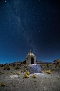 The Milky Way in the Night Sky Above a Grave Marker Sajama National Park by Alex Saberi