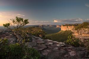 Valleys Below Pai Inacio in Chapada Diamantina National Park in Bahia State at Sunset by Alex Saberi