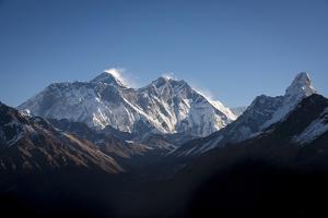A view of Mount Everest, distant peak in Nuptse-Lhotse ridge, from Kongde, Khumbu, Nepal, Himalayas by Alex Treadway