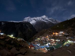 Spectacular Namche Bazaar in the Everest Region Lit-Up at Night by Alex Treadway