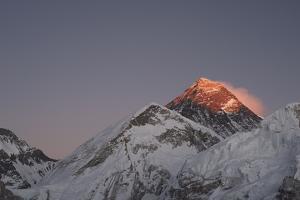 Sun Sets on Mount Everest Seen from Kala Patar, Khumbu, Himalayas, Nepal, Asia by Alex Treadway