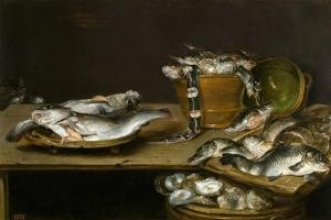 Still Life with Fish, Oysters and a Cat by Alexander Adriaenssen