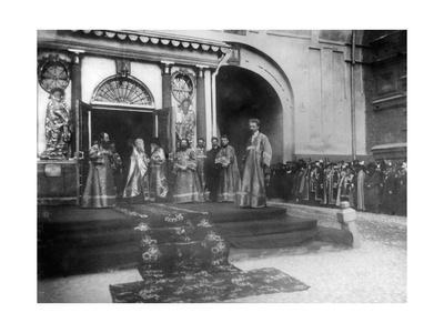Religious Representatives Awaiting the Imperial Family at the Iveron Chapel, Moscow, Russia, 1898
