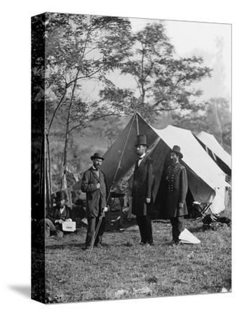 Abraham Lincoln with Allan Pinkerton and Major General John A. McClernand, 1862