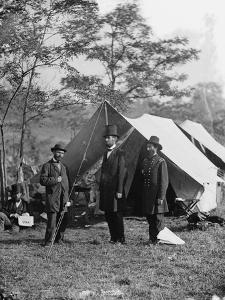 Abraham Lincoln with Allan Pinkerton and Major General John A. McClernand, 1862 by Alexander Gardner