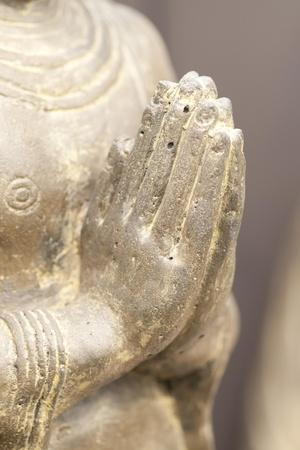 Buddha Made of Sandstone with Folded Hands