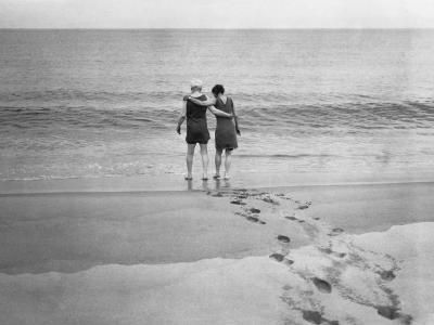 Alexander Graham Bell and His Daughter Walk into the Lake-Bell Family-Photographic Print