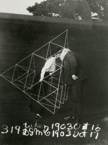 Alexander Graham Bell and Mabel Kissing Within a Tetrahedral Kite- U.S. Gov'T Library Of Congress-Photographic Print