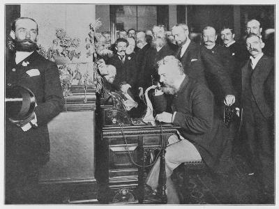 Alexander Graham Bell Inaugurates the Chicago-New York Long Distance Line--Photographic Print